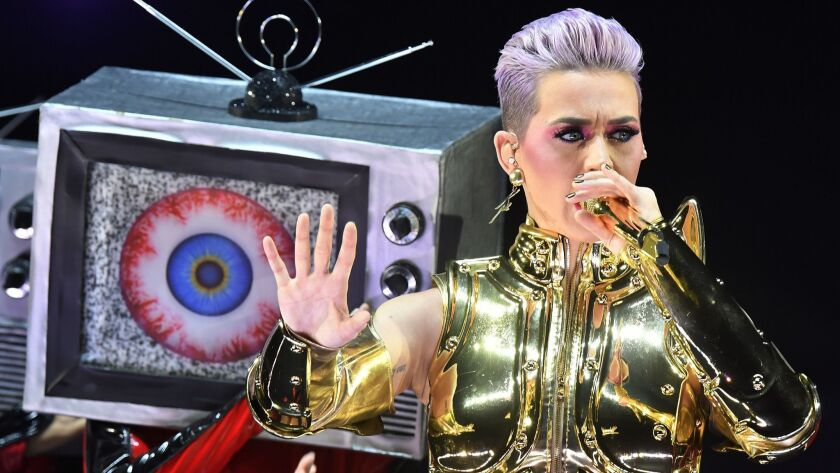 US singer Katy Perry performs on stage during her 'Witness' tour in Zurich, Switzerland, Friday, Jun