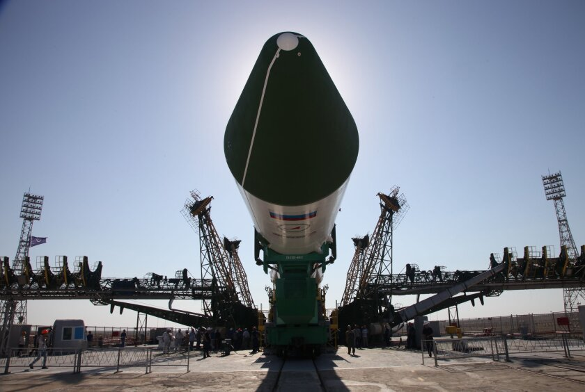 Russia's Progress M-28M cargo ship is mounted on a launch pad at the Baikonur Cosmodrome in Kazakhstan on Wednesday.