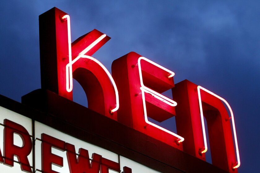 The neon sign above the marquee at the Ken Cinema in Kensington.