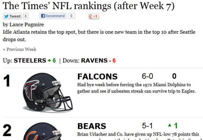 NFL power rankings: Brian Urlacher and the Bears move up to No. 2