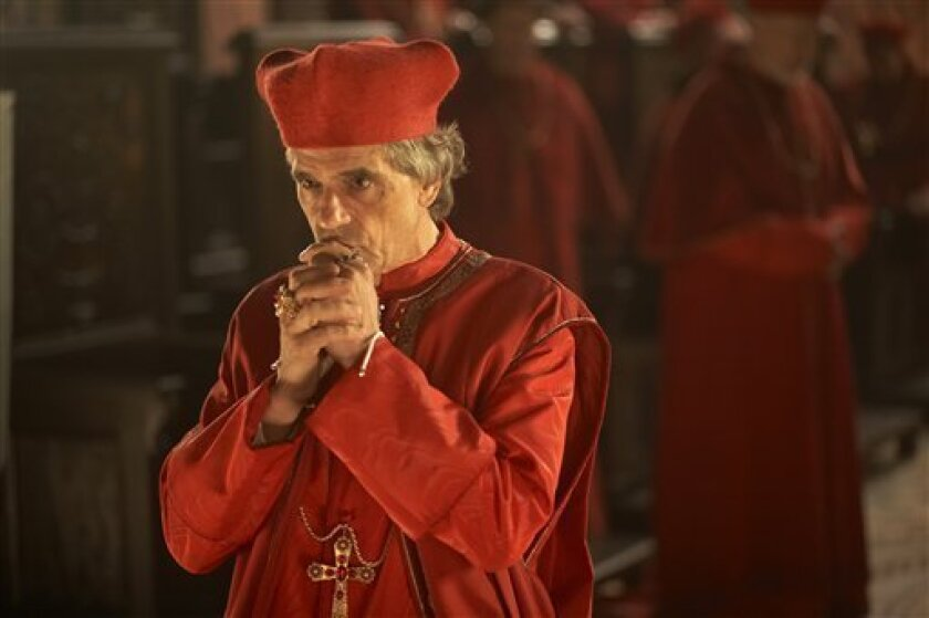 """In this publicity image released by Showtime, Jeremy Irons portrays Cardinal Rodrigo Borgia, prior to becoming Pope Alexander VI, in the premiere episode of the Showtime original series, """"The Borgias."""" Created, written and produced by Neil Jordan, """"The Borgias"""" begins with a two-hour premiere on Sunday at 9 p.m. EDT, with seven subsequent episodes airing Sundays at 10 p.m. EDT. (AP Photo/Showtime, Jonathan Hession)"""