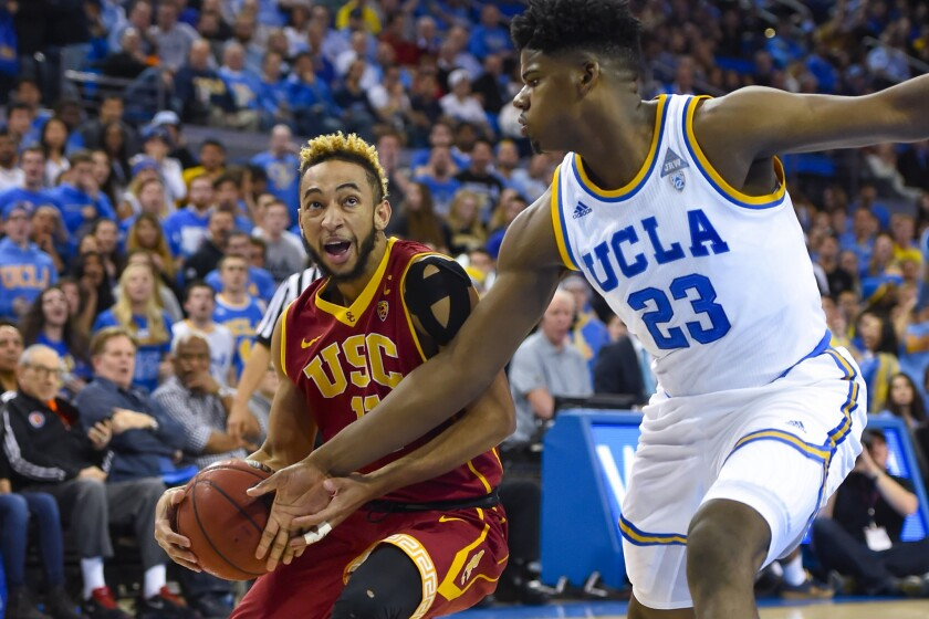 USC guard Jordan McLaughlin, driving against UCLA forward Tony Parker in January, is playing with the Pac-12 Conference All-Star team in Australia.