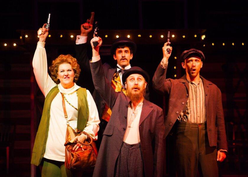 "Melinda Gilb, Braxton Molinaro, Geno Carr and Jason Maddy (left to right) in Cygnet Theatre's ""Assassins."""