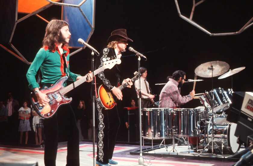 The James Gang -- Dale Peters, from left, Joe Walsh and Jimmy Fox -- performs in 1971.