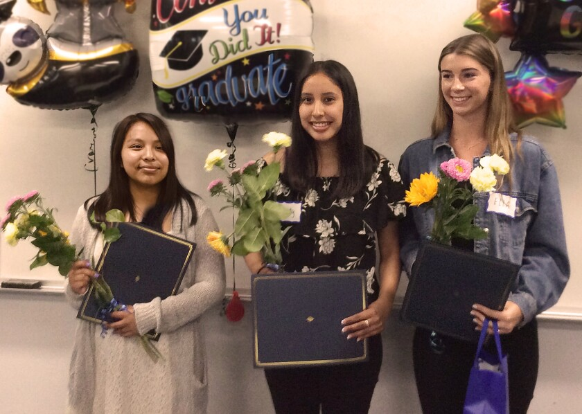2019 Friends of Solana Beach Library scholarship winners: Diana Hernandez, Wendy Mendoza and Ella Chambers.