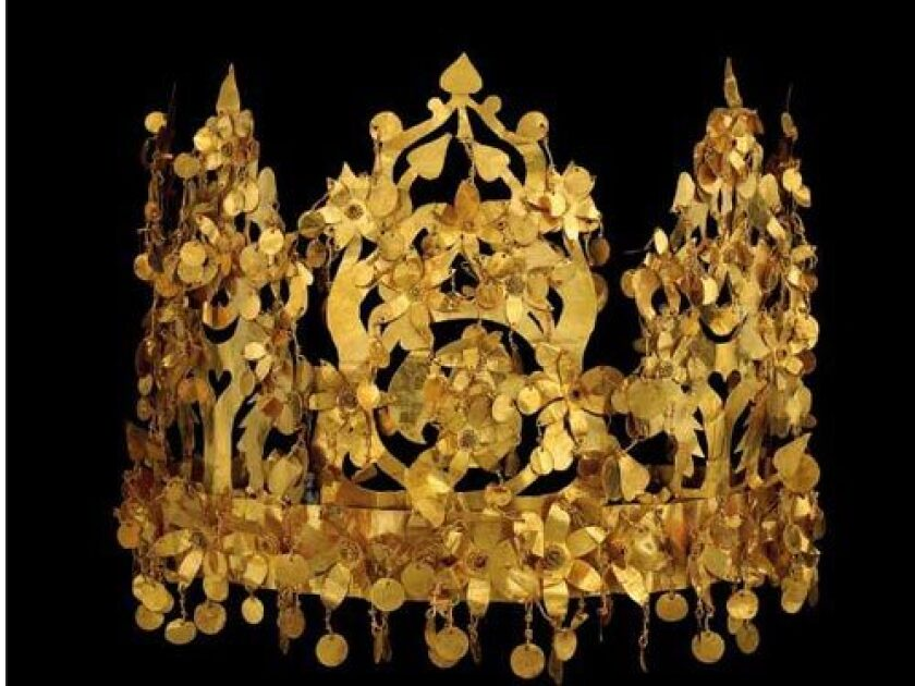 """CROWNING JEWELS: Included in the travelving exhibit """"Afghanistan: Hidden Treasures from the National Museum, Kabul,"""" is this folding gold crown."""