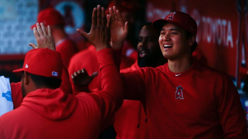 ANAHEIM, CALIF. - APRIL 10: Los Angeles Angels Shohei Ohtani (17) in the dugout before the start of
