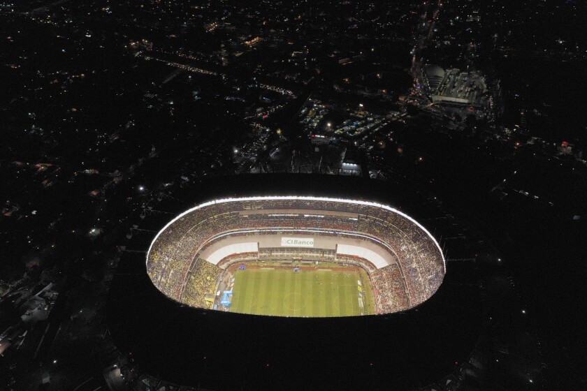 TOPSHOT - Aereal view of Azteca Stadium during the second round of final of the Mexican Apertura 2019 tournament football match between America and Monterrey at the Azteca stadium on December 29, 2019, in Mexico City. (Photo by ALFREDO ESTRELLA / AFP) (Photo by ALFREDO ESTRELLA/AFP via Getty Images) ** OUTS - ELSENT, FPG, CM - OUTS * NM, PH, VA if sourced by CT, LA or MoD **