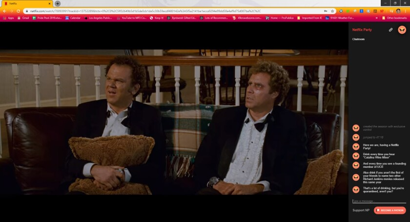 """Screenshot of watching """"Step Brothers"""" through a Netflix Party app."""