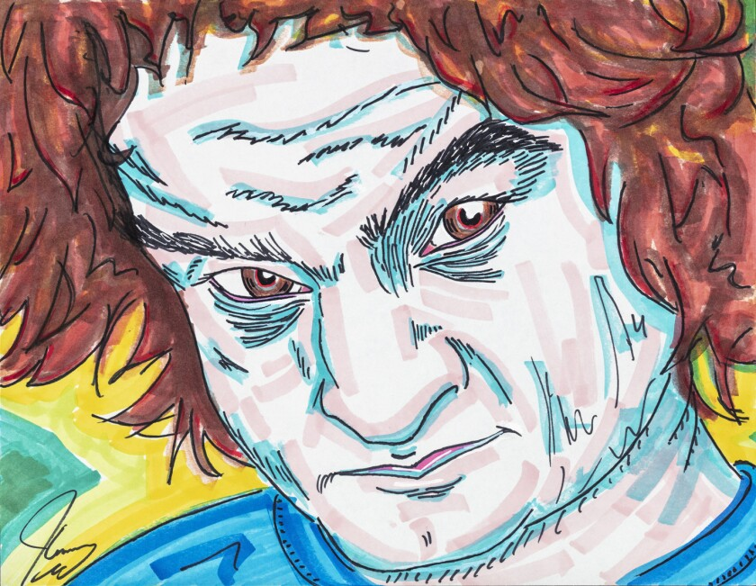 A cartoon of John Belushi by Jim Carrey. From October 13 through November 10, Maccarone will fill it
