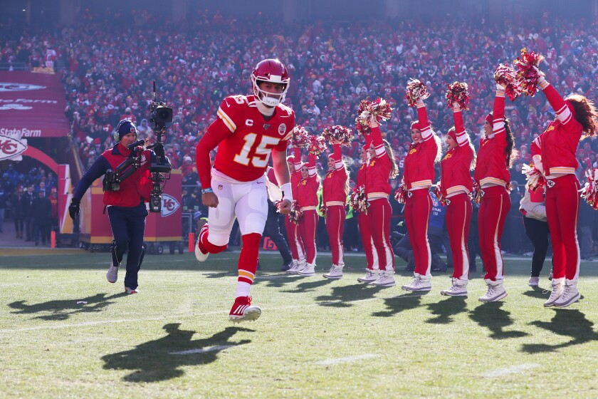 Kansas City Chiefs quarterback Patrick Mahomes runs onto the field before a win over the Tennessee Titans in the AFC Championship game on Jan. 19.