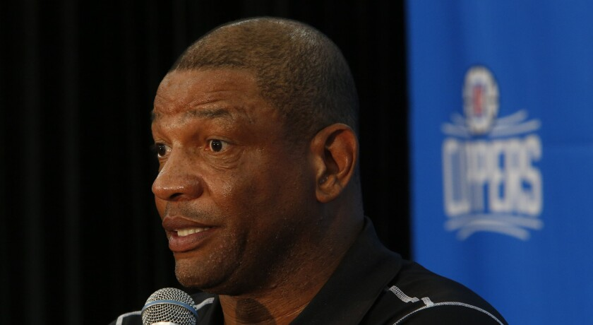 Clippers Coach Doc Rivers speaks during a news conference on June 18 in El Segundo introducing Lance Stephenson.