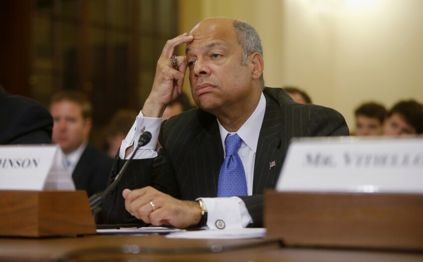 """Homeland Security Secretary Jeh Johnson testifies on Capitol Hill last month. On Sunday, Johnson said """"our border is not open to illegal migration, and we will stem the tide."""""""