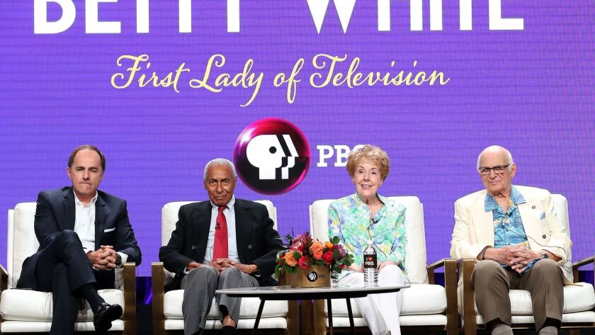 """Steve Boettcher, Arthur Duncan, Georgia Engel and Gavin MacLeod at the panel for the show """"Betty White: First Lady of Television"""" on Tuesday at the Summer 2018 Television Critics Assn. Press Tour at the Beverly Hilton Hotel."""