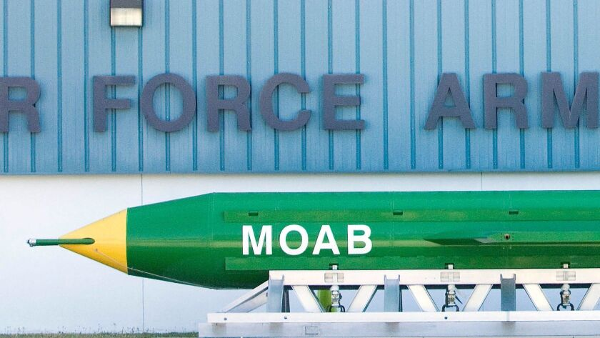 This May 2004 photo shows a GBU-43B, or massive ordnance air blast (MOAB) weapon, on display at the