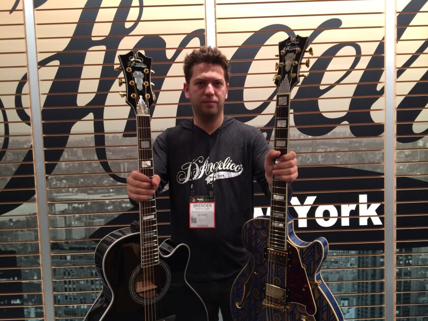 D'Angelico Guitars CEO Brenden Cohen at the NAMM Show in Anaheim.