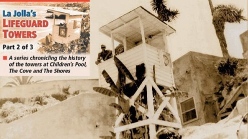 La Jolla Cove lifeguard tower circa 1968, with Tony Alkire manning it. (Courtesy photos)