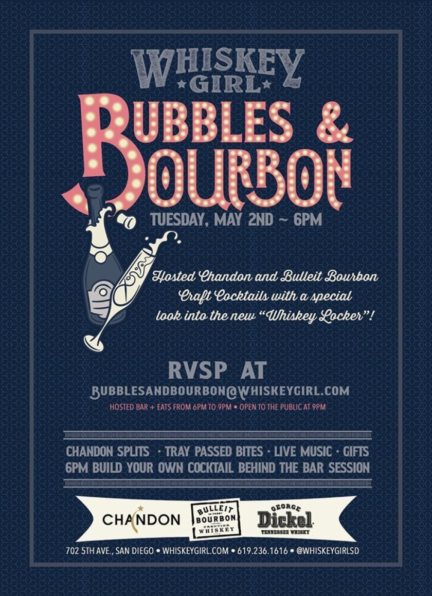 Whiskey Girl is hosting a bubbles & bourbon event on Tuesday, May 2. (Courtesy photo)