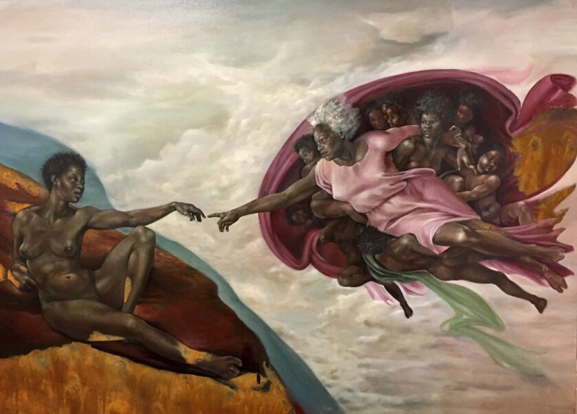 """The Creation of God,"" oil on linen."