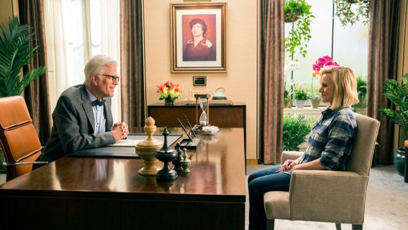 """Ted Danson welcomes Kristen Bell to the afterlife in the opening episode of the NBC comedy """"The Good Place."""""""