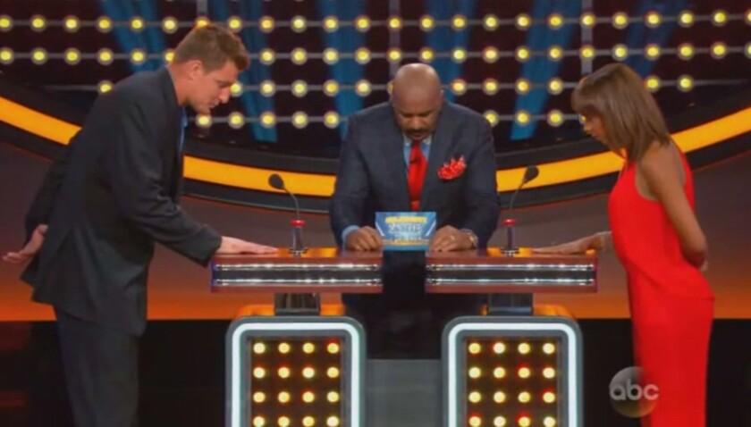 Rob Gronkowski and Holly Robinson Peete face off on 'Celebrity Family Feud.'