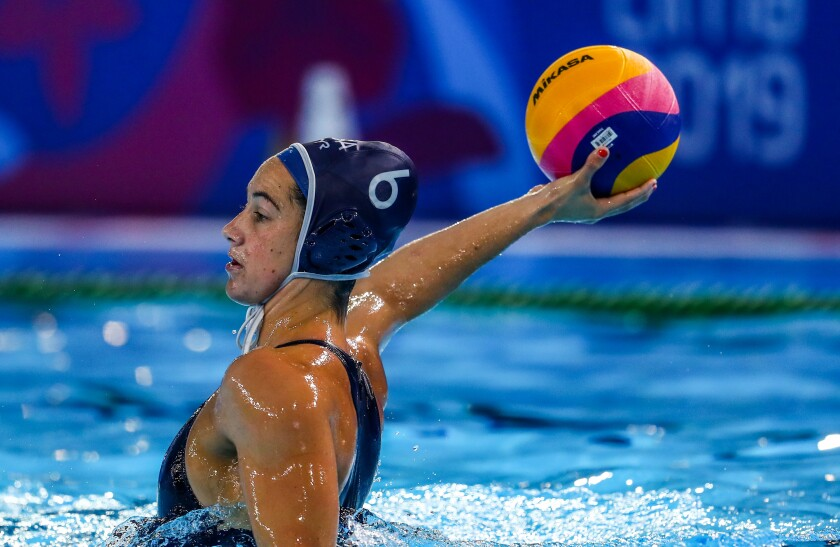 Maggie Steffens takes a shot during a preliminary match between the U.S. and Venezuela during the Pan American Games in August.