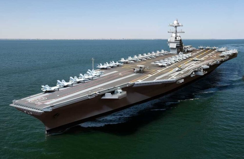 Depiction of what the Gerald R. Ford -- the first in the Navy's new class of aircraft carrier -- will look like when complete in 2013.