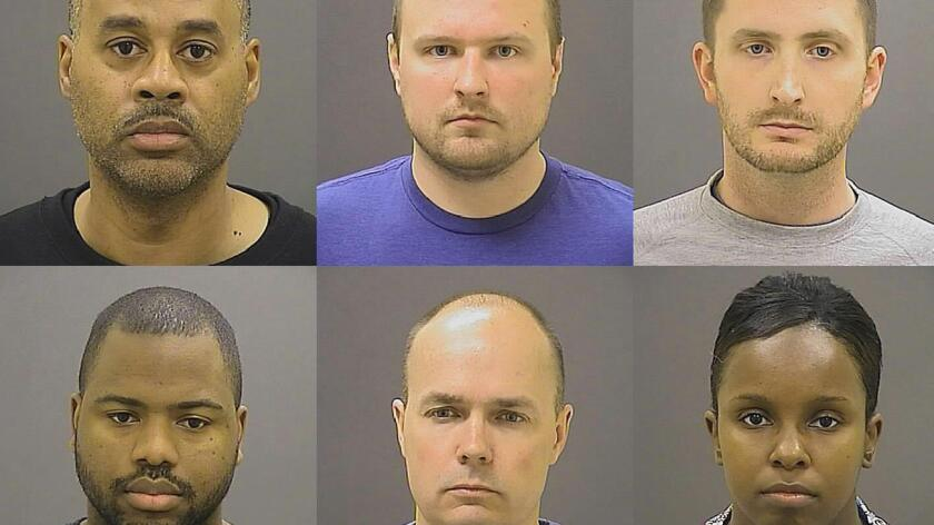 Arriba, de izquierda a derecha, los oficiales que enfrentaban cargos en el caso de Freddie Gray: Caesar R. Goodson Jr., Garrett E. Miller y Edward M. Nero. Abajo: William G. Porter, Brian W. Rice and Alicia D. White.