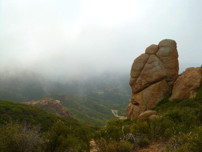 Rock outcroppings along the Santa Monica Mountains walk.