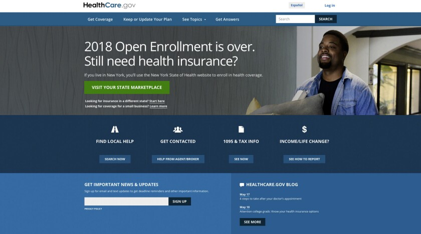 This screen grab shows the main page of the healthcare.gov website in Washington, on Monday, May 21,