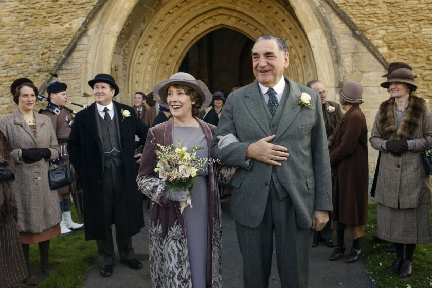 """Phyllis Logan as Mrs. Hughes and Jim Carter as Mr. Carson on """"Downton Abbey."""""""