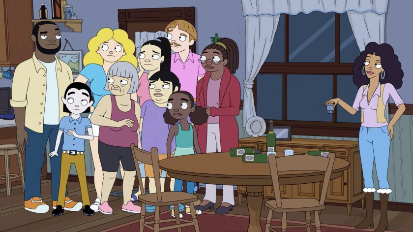 """An animated group of people in a house in the sitcom """"The Harper House."""""""