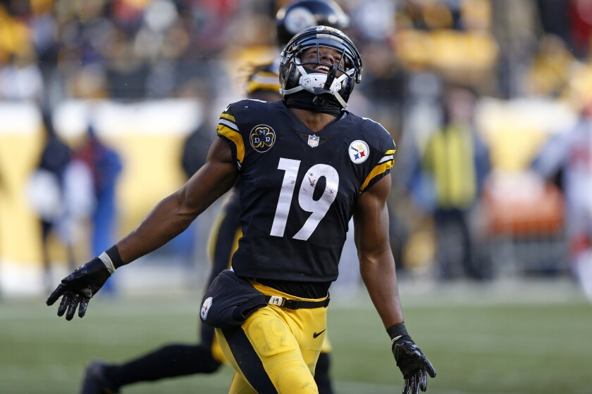 Expect many colorful touchdown celebrations from Pittsburgh Steelers wide receiver JuJu Smith-Schuster (19) this season, his first without Antonio Brown lining up across from him.