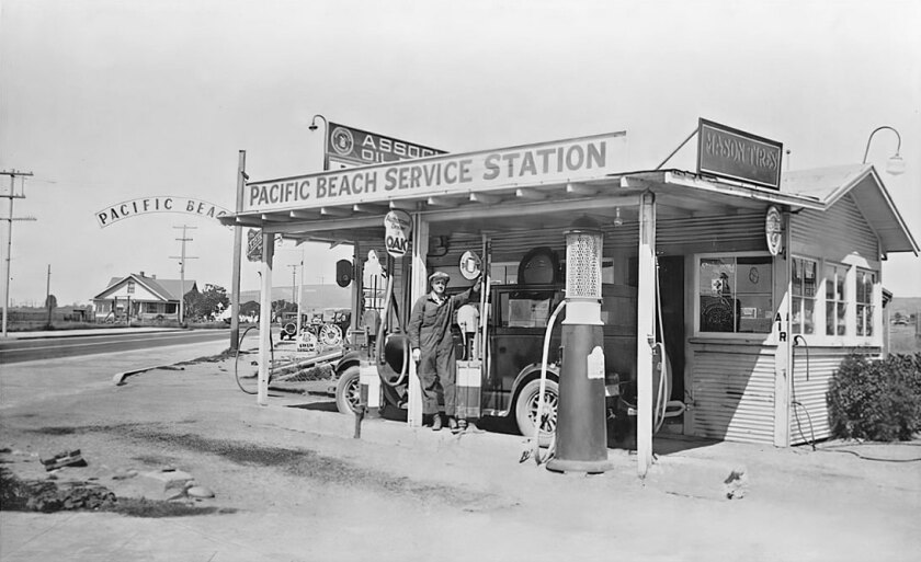 Pacific Beach Service Station, where Chase Bank is today, on Garnet Avenue and Cass Street.