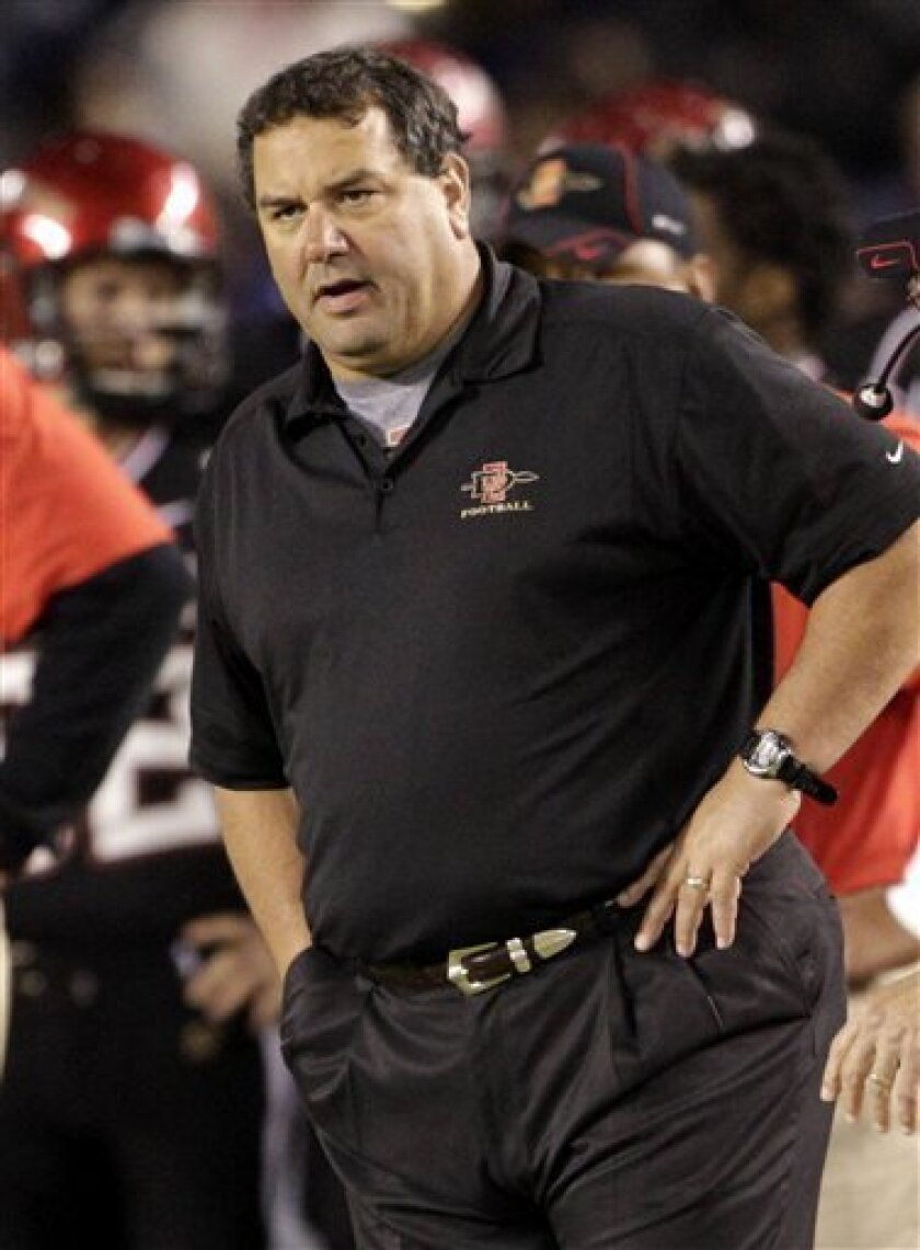 FILE - This Nov. 17, 2010, file photo shows San Diego State coach Brady Hoke watching his team during their victory over UNLV during an NCAA college football game, in San Diego. Michigan has picked Hoke as its new football coach. Athletic director Dave Brandon announced the decision Tuesday, Jan. 11, 2011, hours after LSU said Les Miles would be staying with the Tigers. (AP Photo/Lenny Ignelzi, File)
