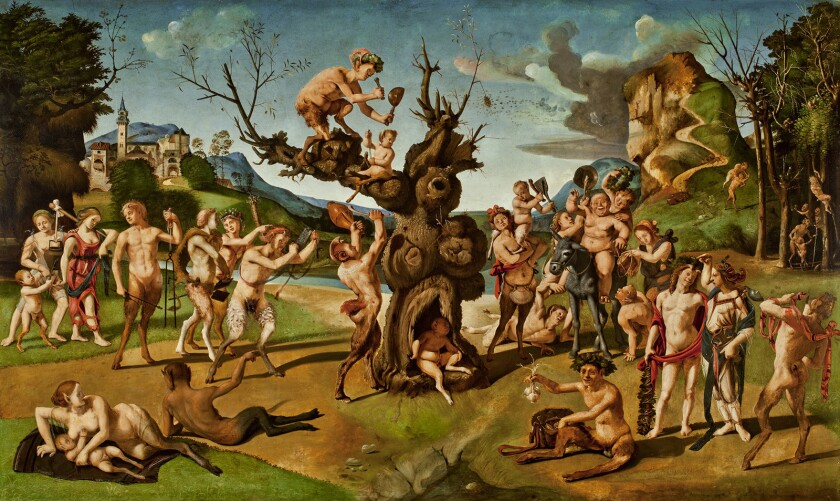 """Piero di Cosimo's 15th-century oil-on-wood painting """"The Discovery of Honey by Bacchus"""" is among the works on display in the new exhibition """"The Renaissance Nude"""" at the Getty Center."""