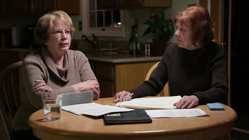 """Abbie Schaub and Gemma Hoskins in """"The Keepers,"""" the seven-part Netflix documentary about the 1969 murder of a Baltimore nun, Sister Catherine Cesnik."""