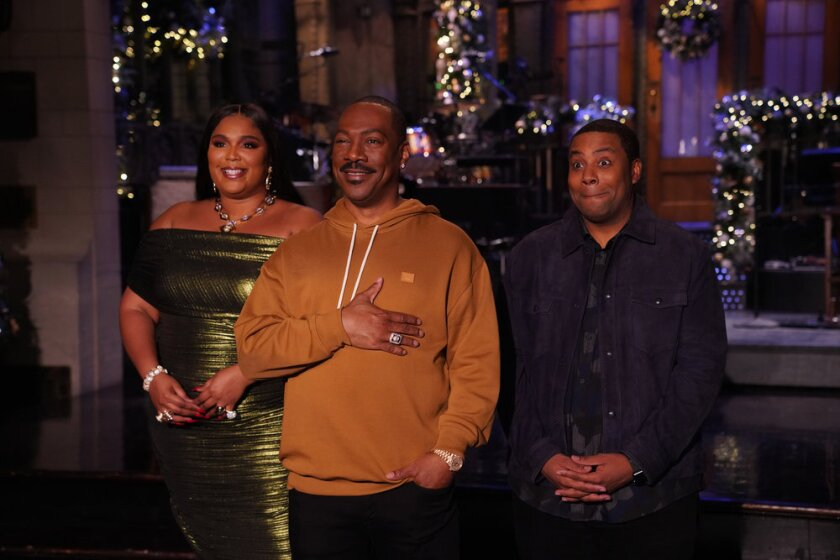 """""""Saturday Night Live's"""" Kenan Thompson with musical guest Lizzo and host Eddie Murphy."""