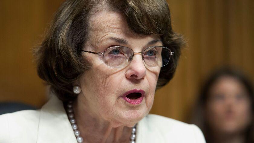 Sen. Dianne Feinstein, D-Calif., speaks on Capitol Hill in Washington on May 10.