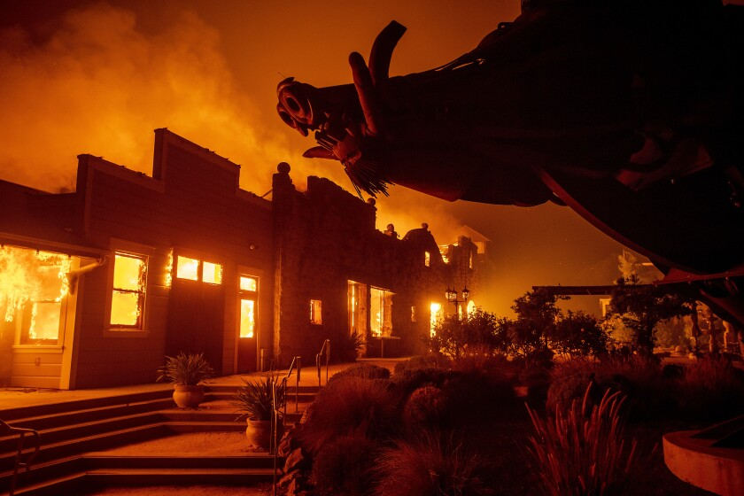 Flames from the Kincade Fire in 2019 consumed Soda Rock Winery in Healdsburg, Calif.