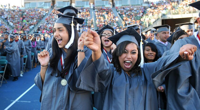 The latest federal report on public school graduation and dropout rates paints an improving picture of high school education. Above, the Fremont High Class of 2012 celebrates graduation day at Home Depot Center in Carson.