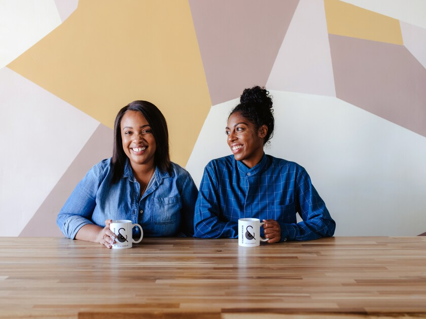 Amanda-Jane Thomas, left, and Shanita Nicholas, co-founders of Sip & Sonder in Inglewood.