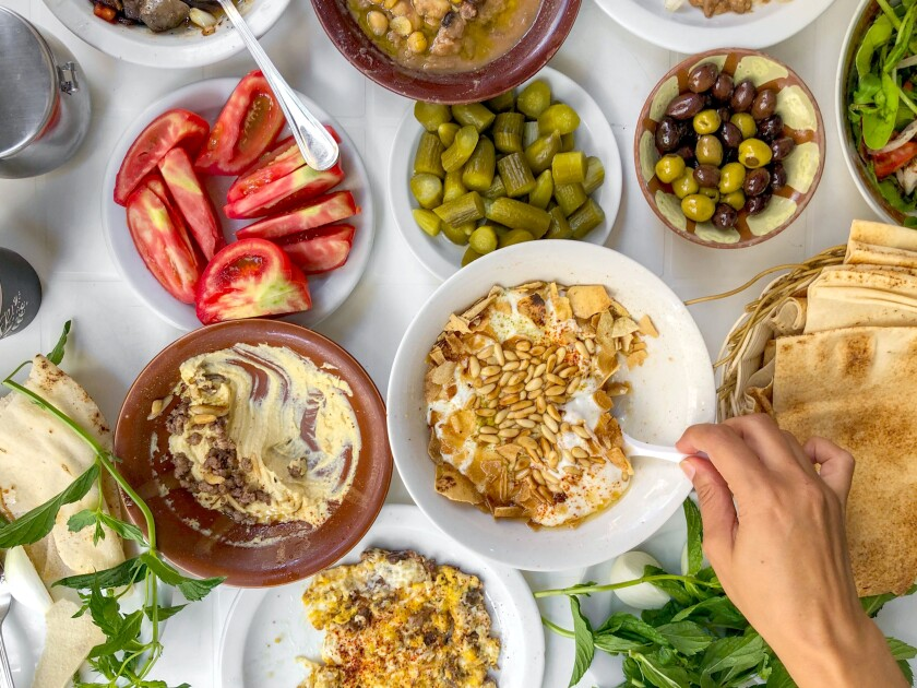 A traditional breakfast spread at Al Soussi, a breakfast institution in Beirut