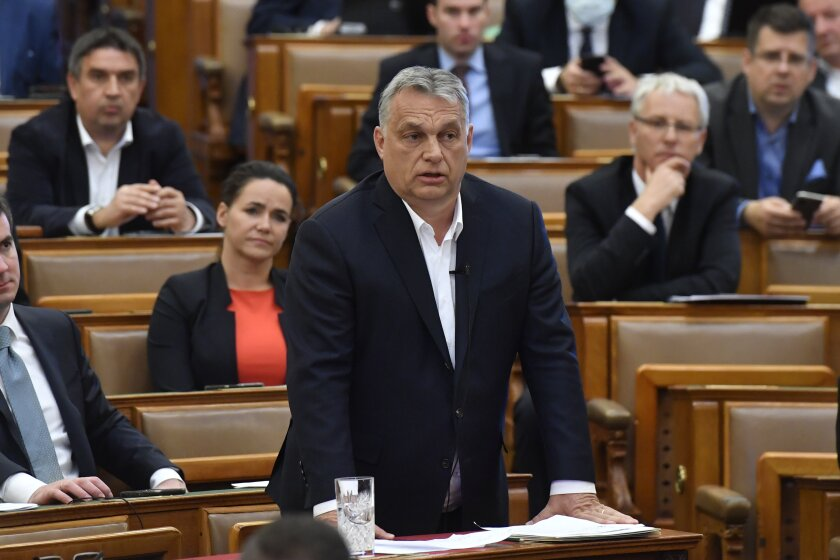 Hungarian Prime Minister Viktor Orban attends a session of parliament in Budapest.