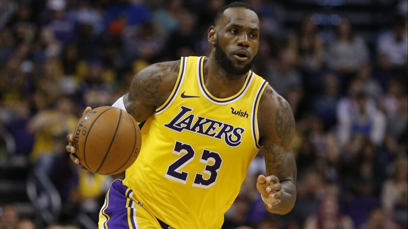 FILE - In this Saturday, March 2, 2019 file photo, Los Angeles Lakers forward LeBron James (23) cont