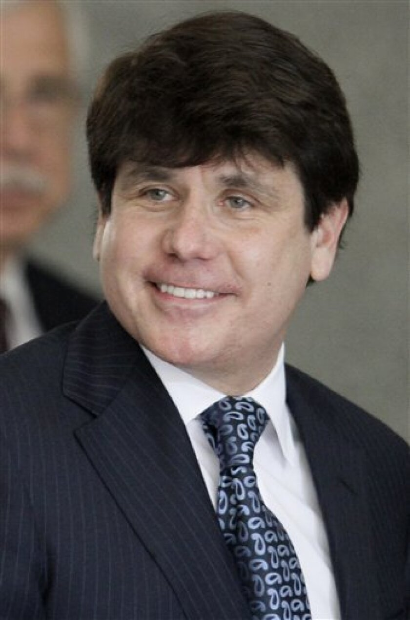 FILE -- In a July 21, 2010 file photo, former Illinois Gov. Rod Blagojevich arrives at the federal building in Chicago. On Monday, March 21, 2011, a federal judge in Chicago says he doesn't think a motion by Blagojevich to cancel his upcoming retrial is serious and so he declined to formally rule on it. The impeached governor's attorneys filed the motion this month asking the judge to forgo a second corruption trial and proceed straight to sentencing on his lone conviction from his first trial. (AP Photo/M. Spencer Green, File)