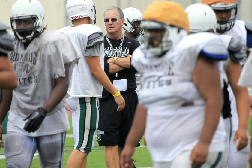 """Under the current power rankings, Oceanside would not qualify for the Open Division playoffs. Pirates football coach John Carroll said he finds that """"hilarious."""""""