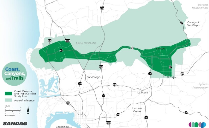 A SANDAG map shows the Coast, Canyons and Trails Corridor (in green)