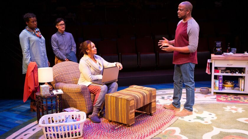 "Dorcas Sowunmi, Avi Roque, Opal Alladin and Keith Powell (from left) in the Old Globe's ""Tiny Beautiful Things."""