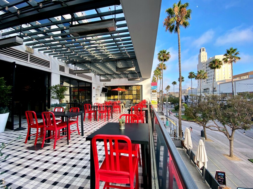 The outdoor patio at Tidbits by Dialogue in Santa Monica